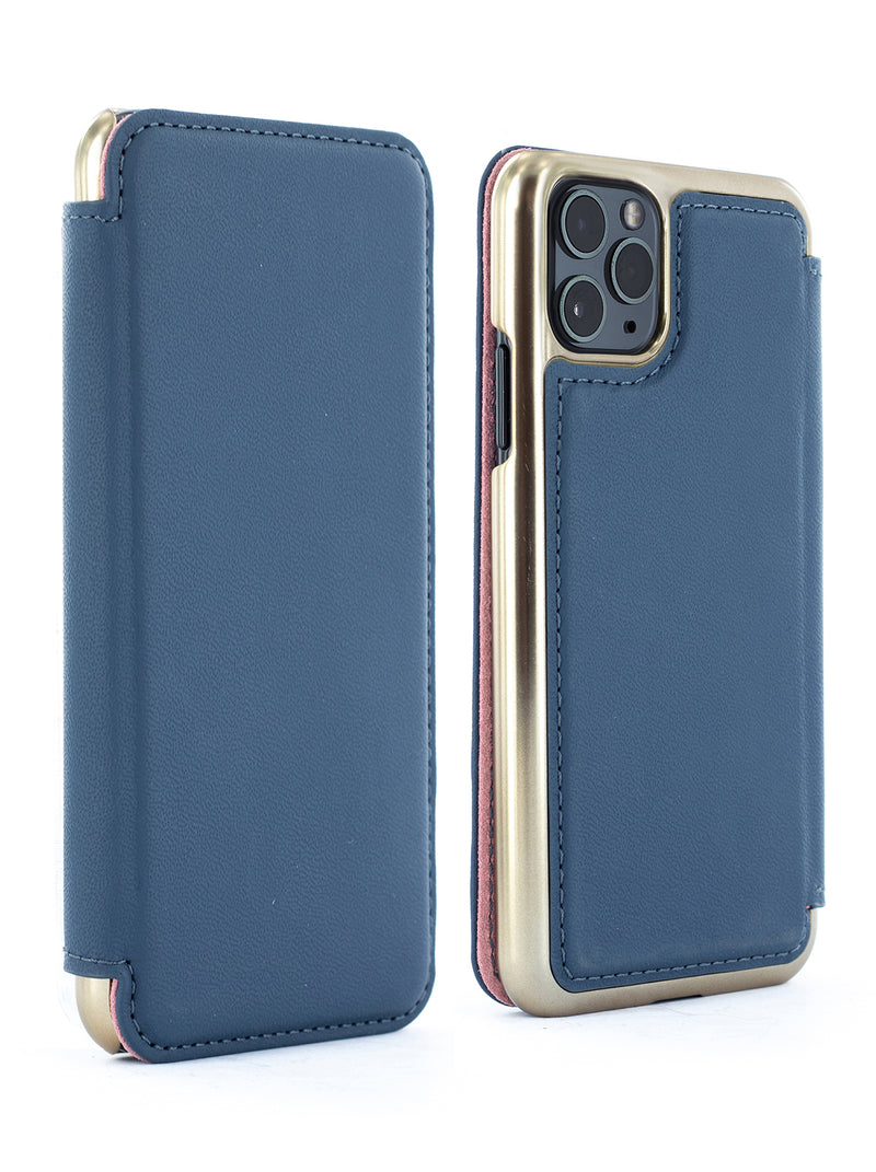 DOGGER Luxury Leather Case for iPhone 11 Pro - MIDNIGHT BLUE/GOLD