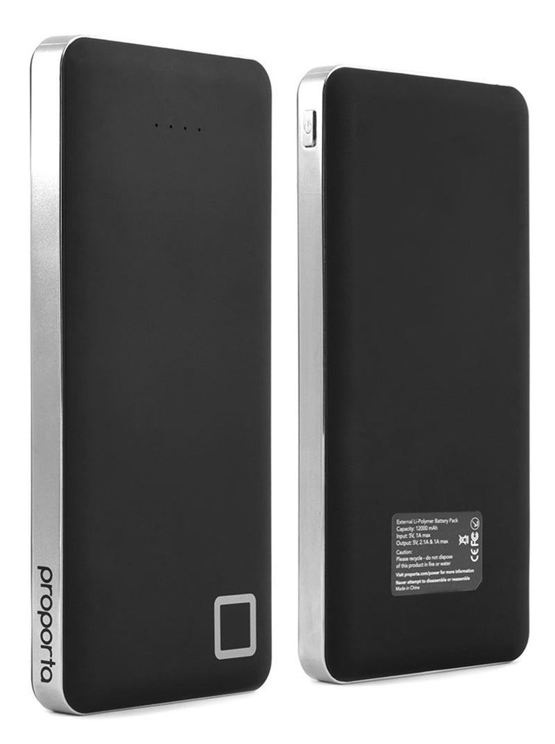 Front and back image of the Proporta Universal power bank in Black