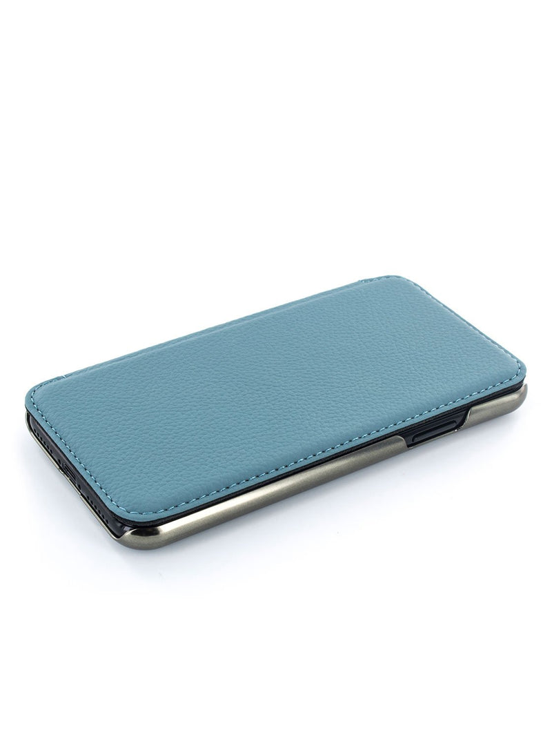 Face up image of the Greenwich Apple iPhone XS / X phone case in Tahiti Blue