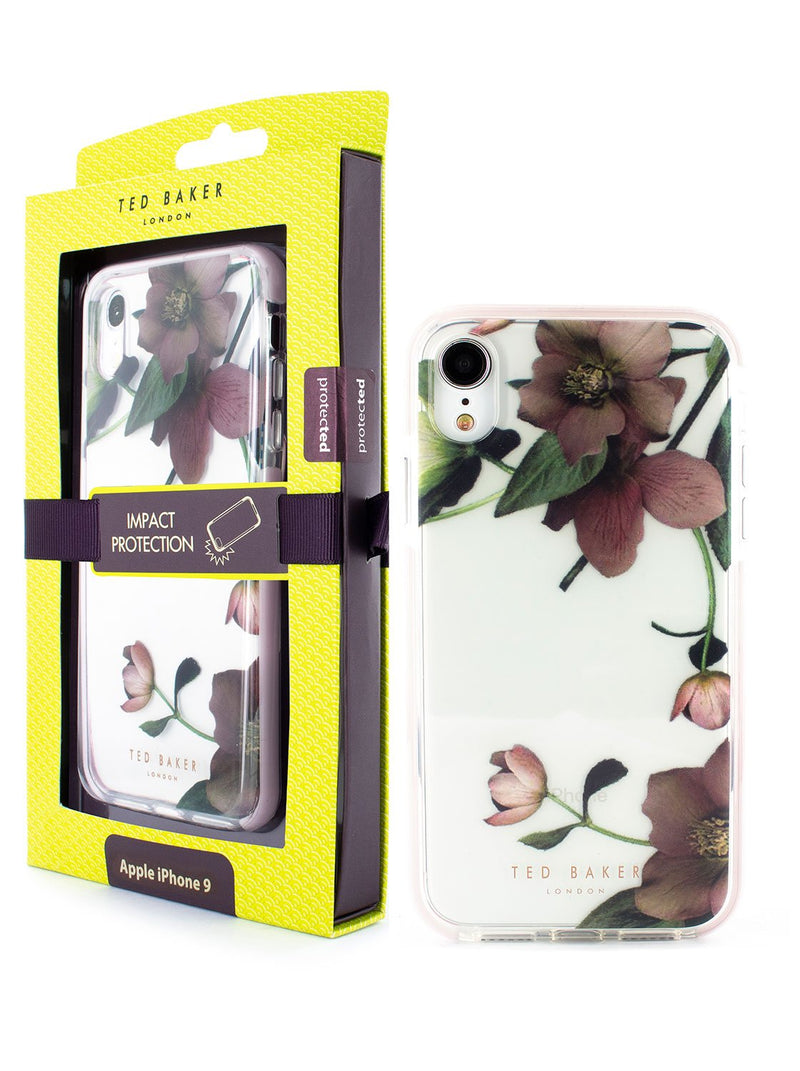 Packaging image of the Ted Baker Apple iPhone XR phone case in Clear Print