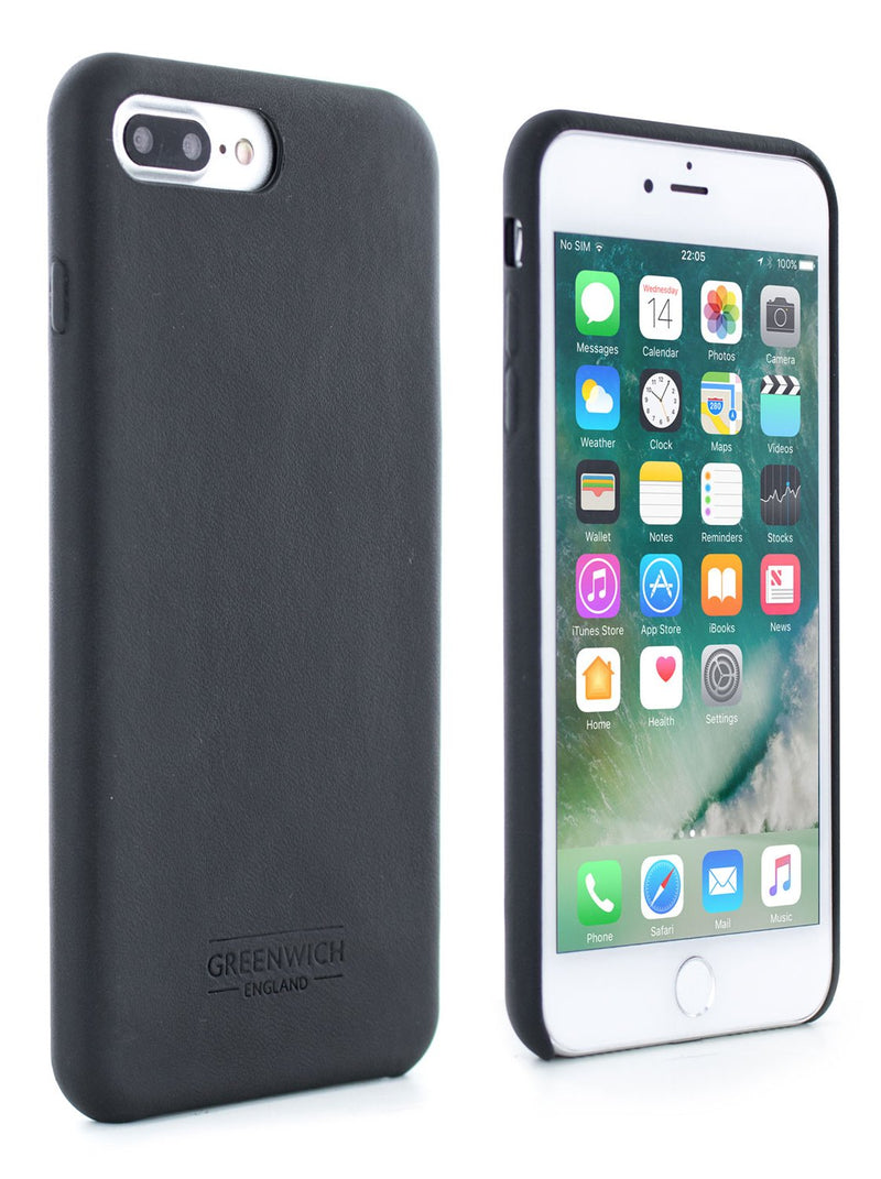 Front and back image of the Greenwich Apple iPhone 8 Plus / 7 Plus phone case in Beluga Black