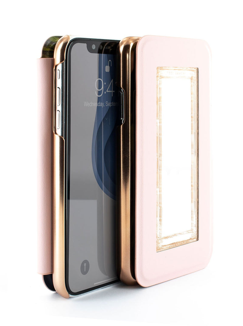 Flip-back front and back image of the Ted Baker Apple iPhone XR phone case in Black