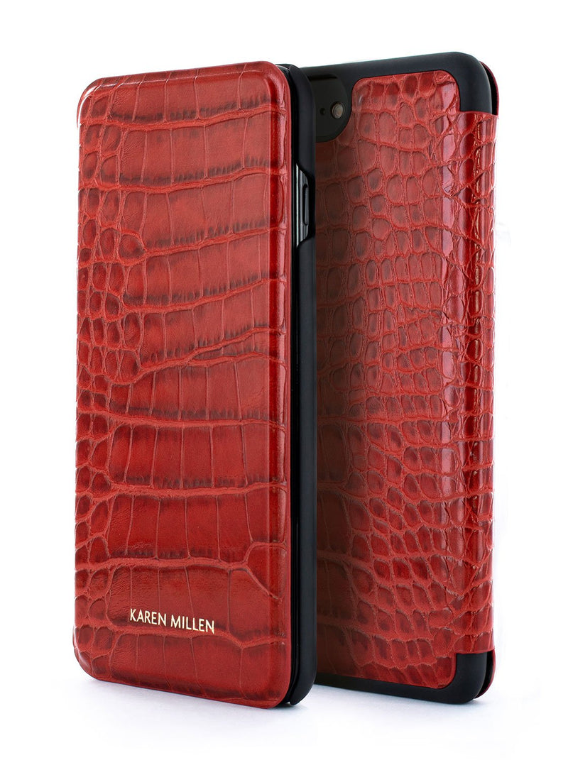 Front and back image of the Karen Millen Apple iPhone 8 Plus / 7 Plus phone case in Red
