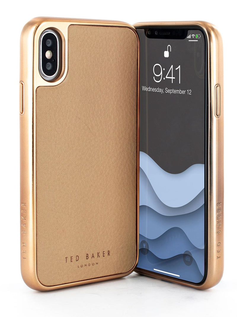 Front and back image of the Ted Baker Apple iPhone XS / X phone case in Taupe