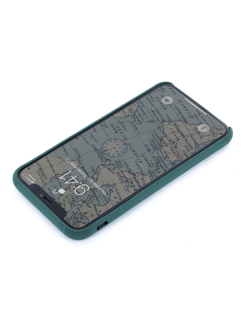 Face up image of the Greenwich Apple iPhone XS Max phone case in Emerald Green