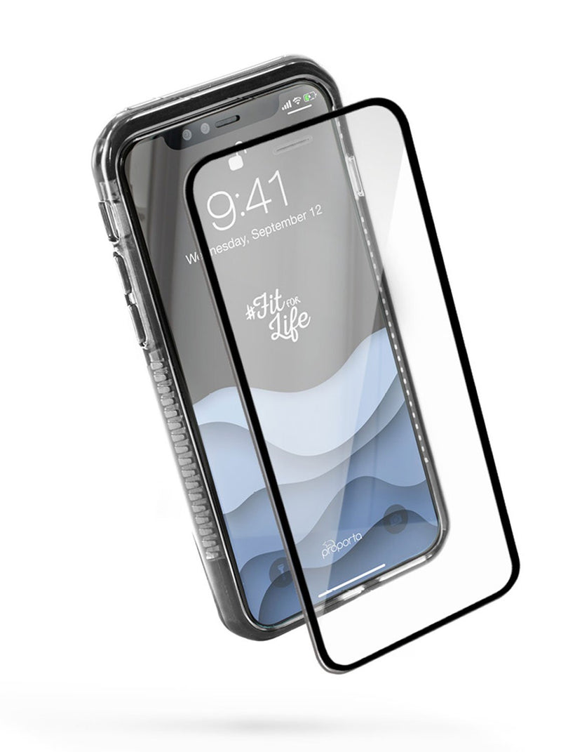 Front with Screen protector image of the Proporta Apple iPhone XS / X phone case in Black