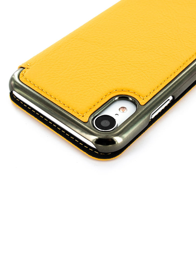 Detail image of the Greenwich Apple iPhone XR phone case in Canary Yellow