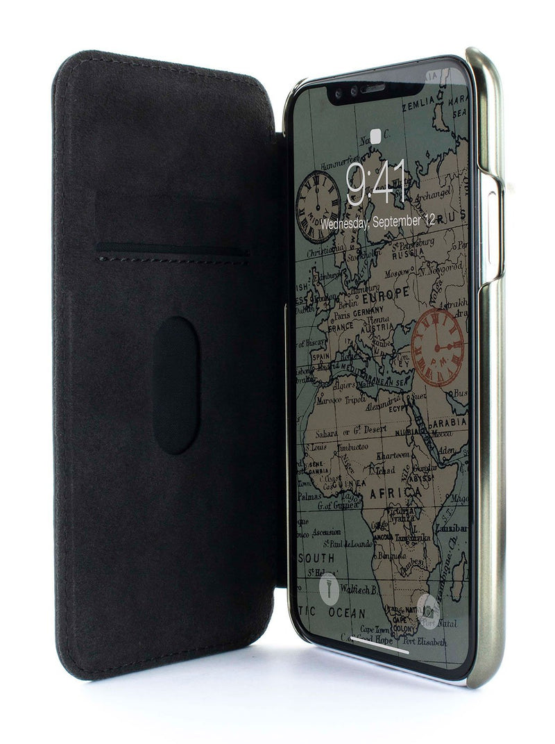 Inside image of the Greenwich Apple iPhone XR phone case in Alcantara