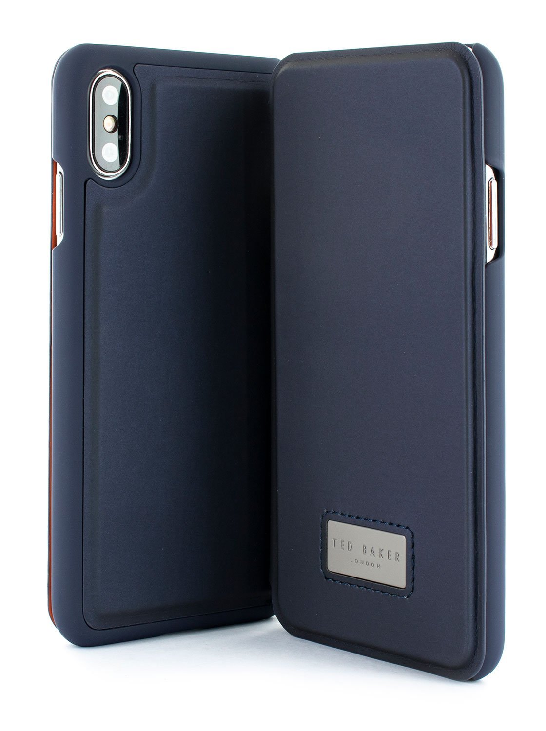 Front and back image of the Ted Baker Apple iPhone XS / X phone case in Navy Blue