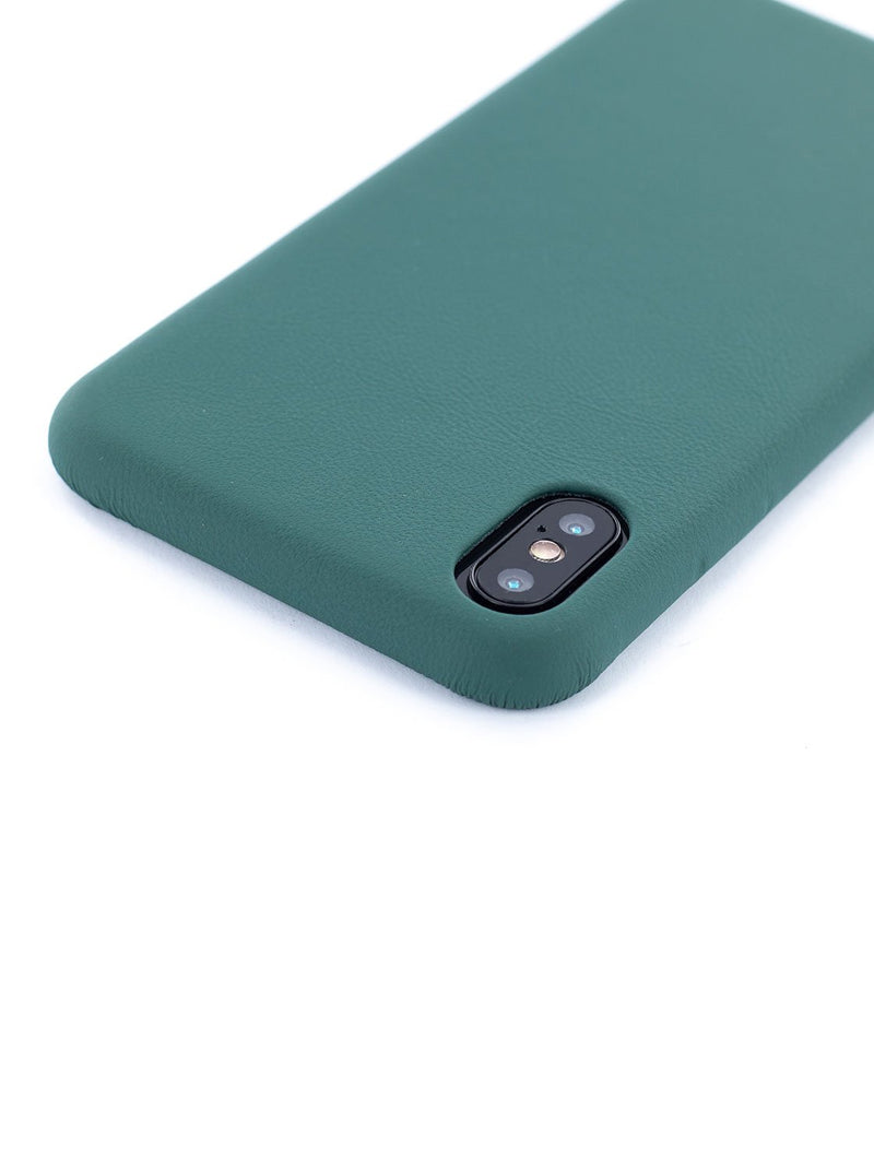 Detail image of the Greenwich Apple iPhone XS Max phone case in Emerald Green