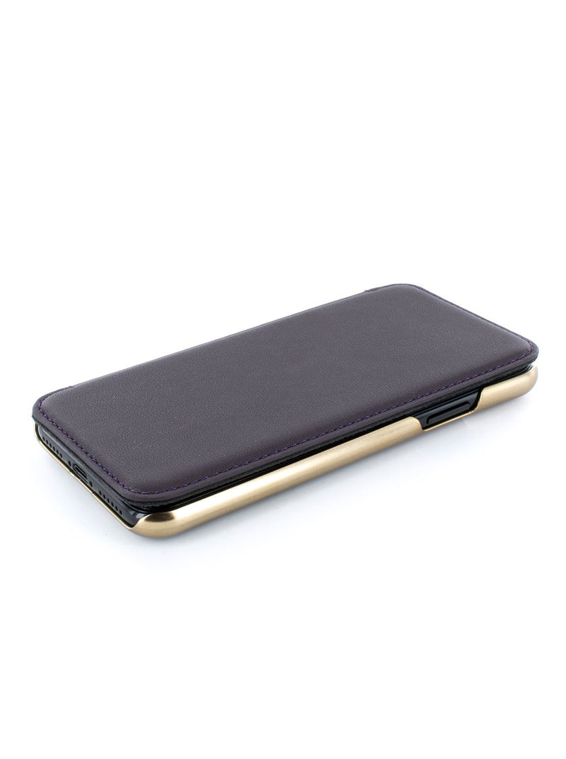 Face up image of the Greenwich Apple iPhone XS / X phone case in Damson Purple