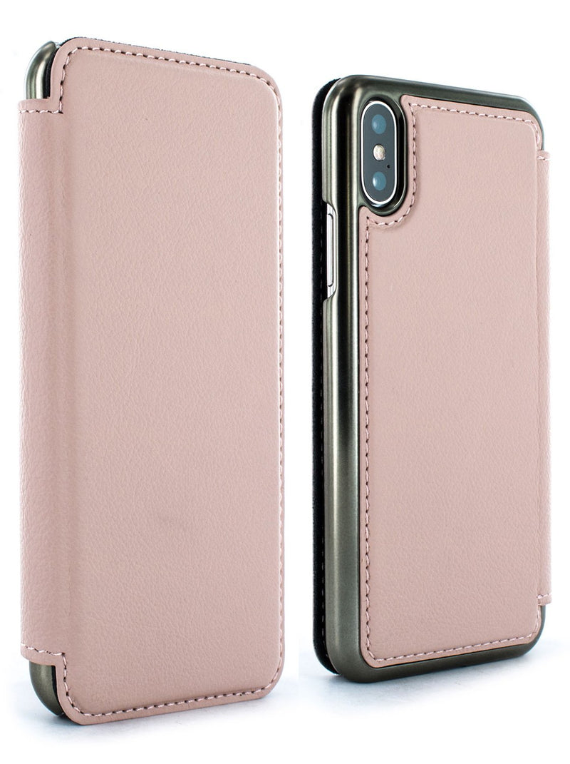 Front and back image of the Greenwich Apple iPhone XS / X phone case in Blossom Pink