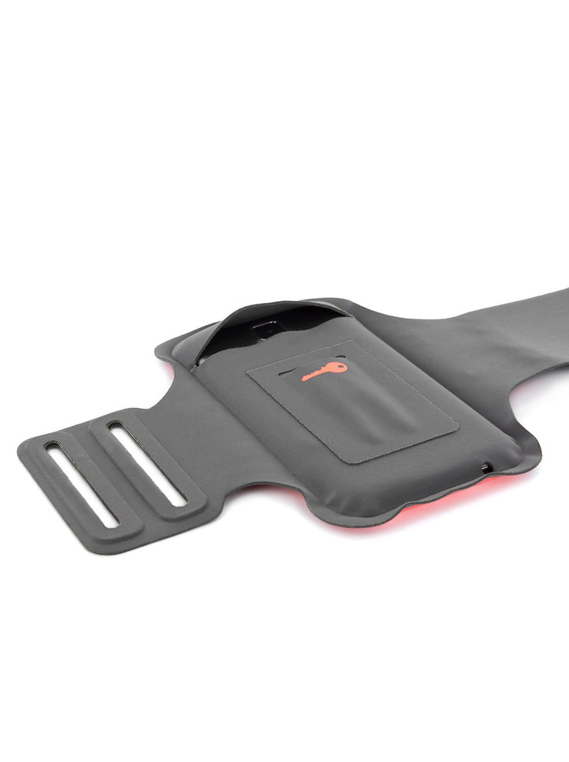 Back image of the Proporta Universal Smartphone armband in Orange and Grey