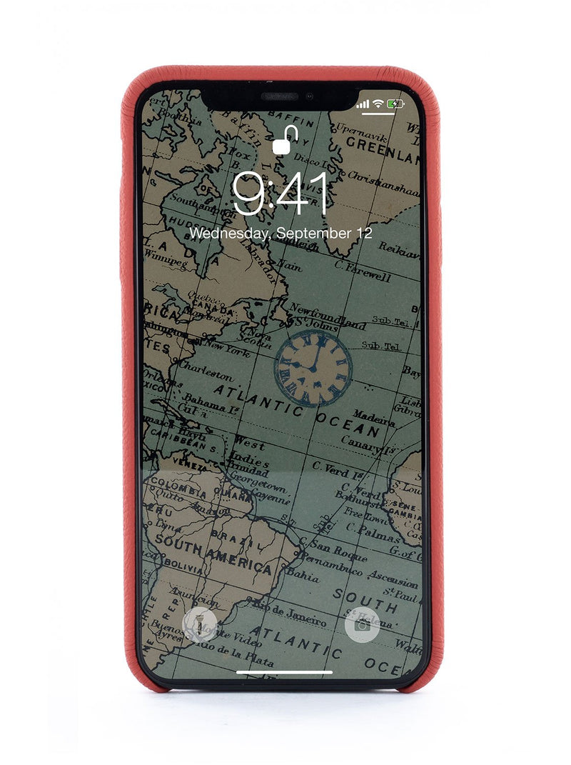 Back image of the Greenwich Apple iPhone XS Max phone case in Red