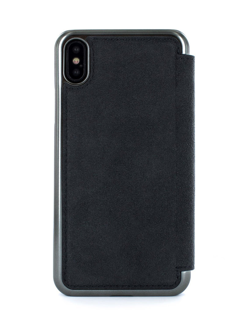 Back image of the Greenwich Apple iPhone XS Max phone case in Alcantara