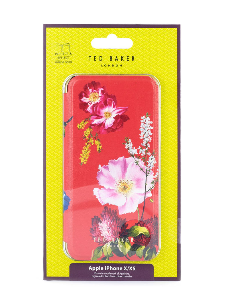 Packaging image of the Ted Baker Apple iPhone XS / X phone case in Berry Sundae Red