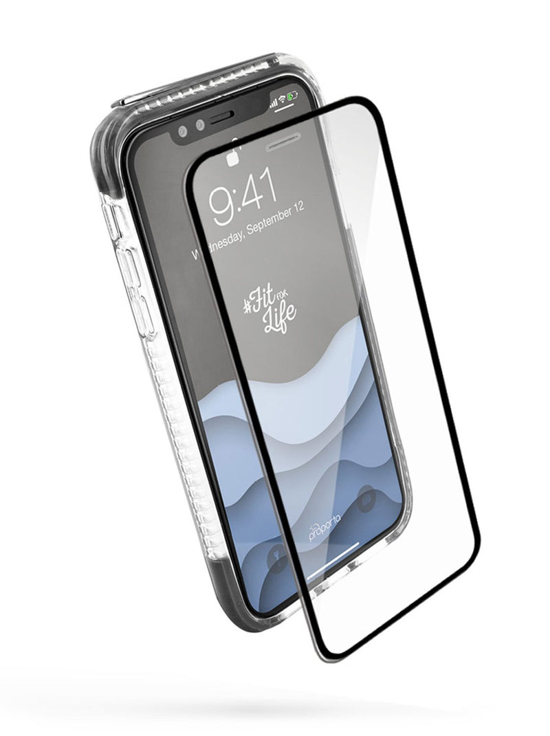 Front with Screen protector image of the Proporta Apple iPhone XS / X phone case in Grey