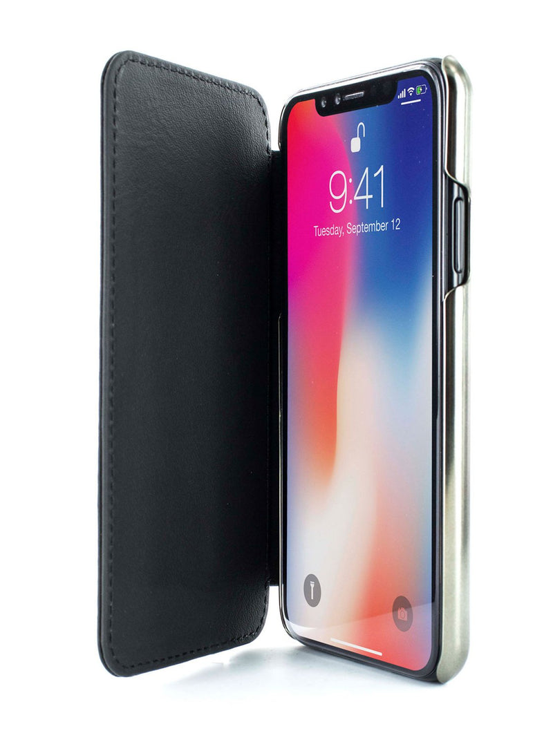 Inside image of the Greenwich Apple iPhone XS / X phone case in Beluga Black