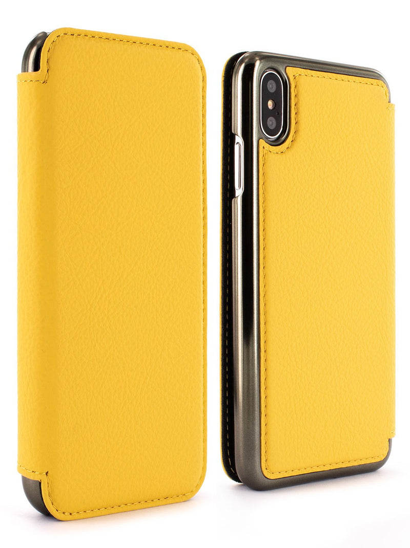 Front and back image of the Greenwich Apple iPhone XS Max phone case in Canary Yellow