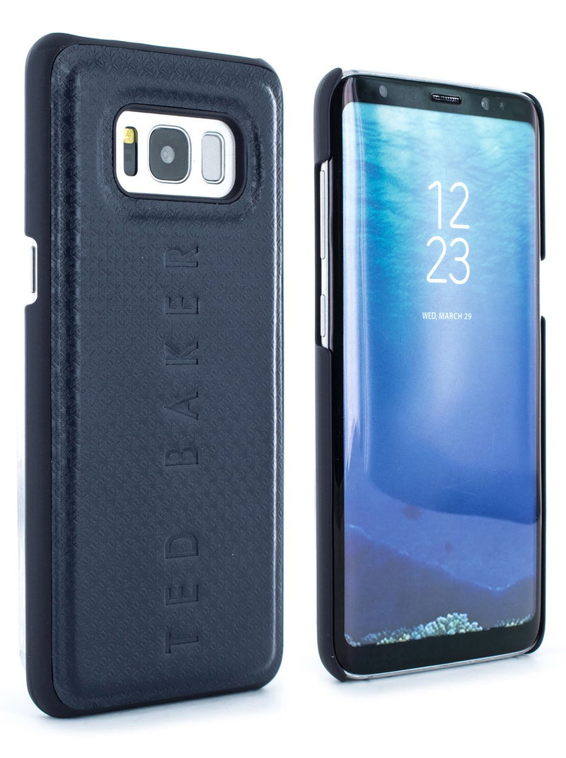 Front and back image of the Ted Baker Samsung Galaxy S8 phone case in Navy Blue