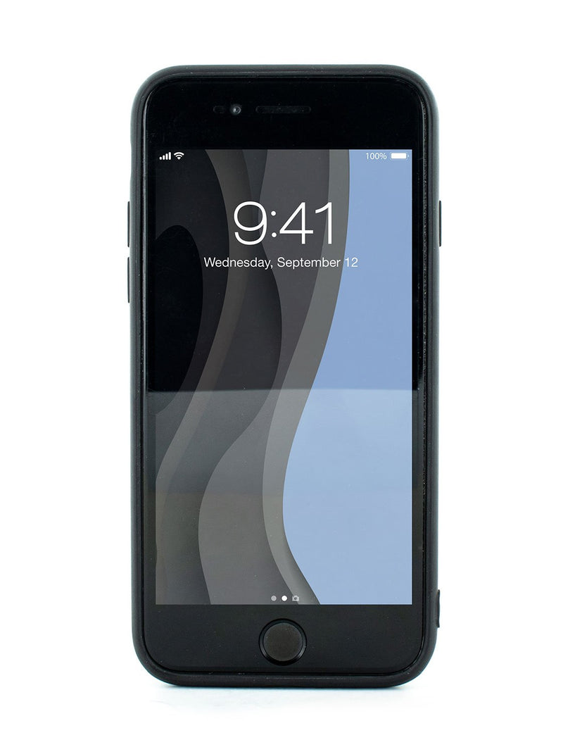 Front image of the Karen Millen Apple iPhone 8 / 7 / 6S phone case in Black