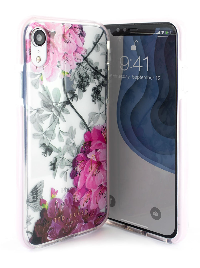 Front and back image of the Ted Baker Apple iPhone XR phone case in Clear Print