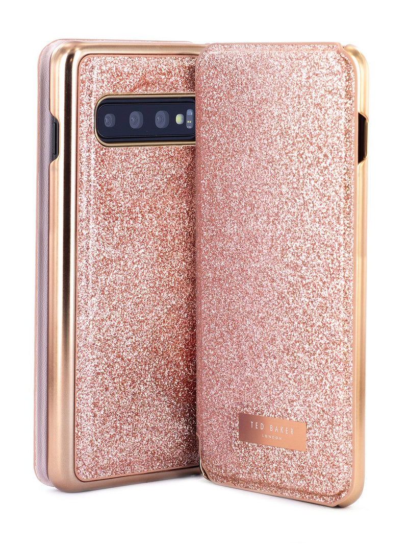 Front and back image of the Ted Baker Samsung Galaxy S10 phone case in Rose Gold