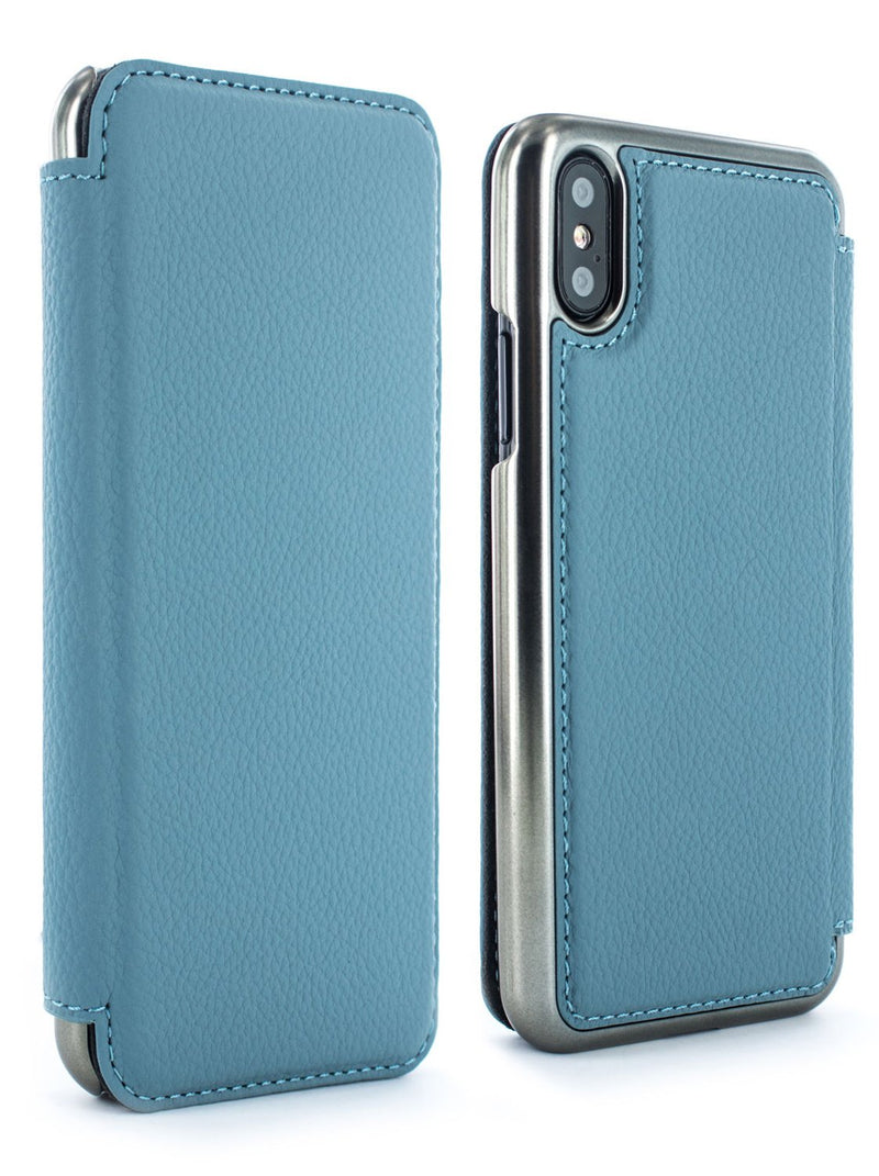 Front and back image of the Greenwich Apple iPhone XS / X phone case in Tahiti Blue