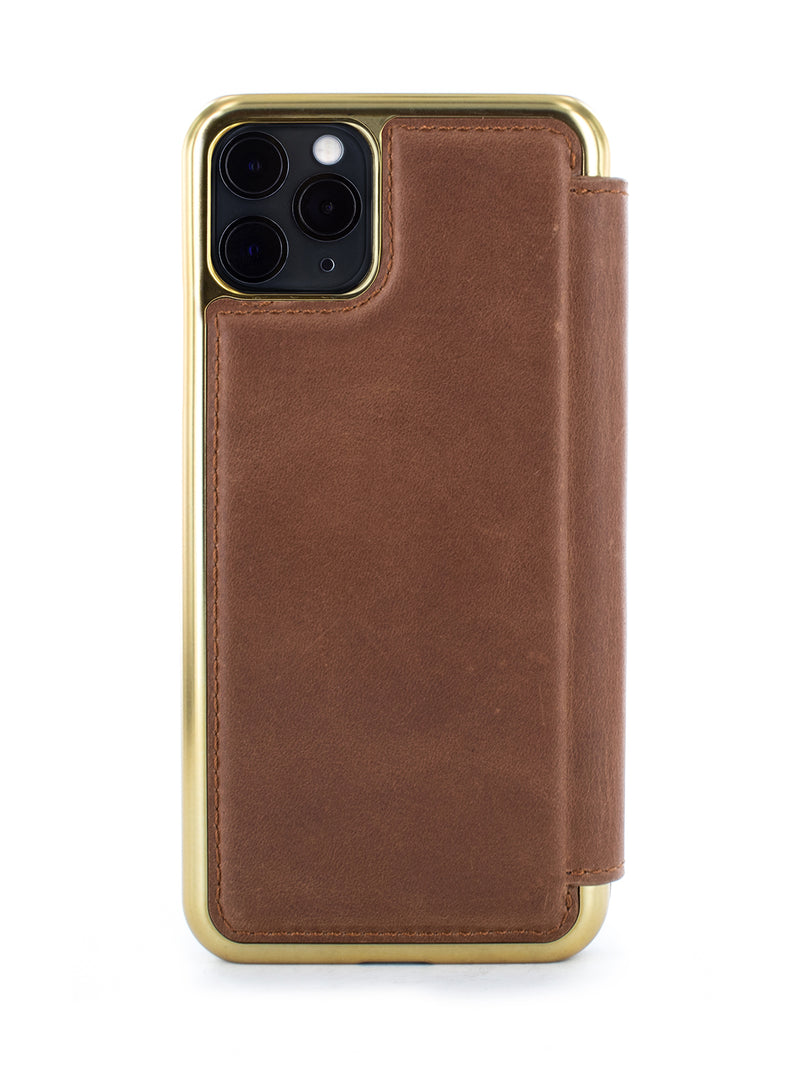 RAMAL Luxury Leather Case for iPhone 11 Pro Max - TAN/GOLD