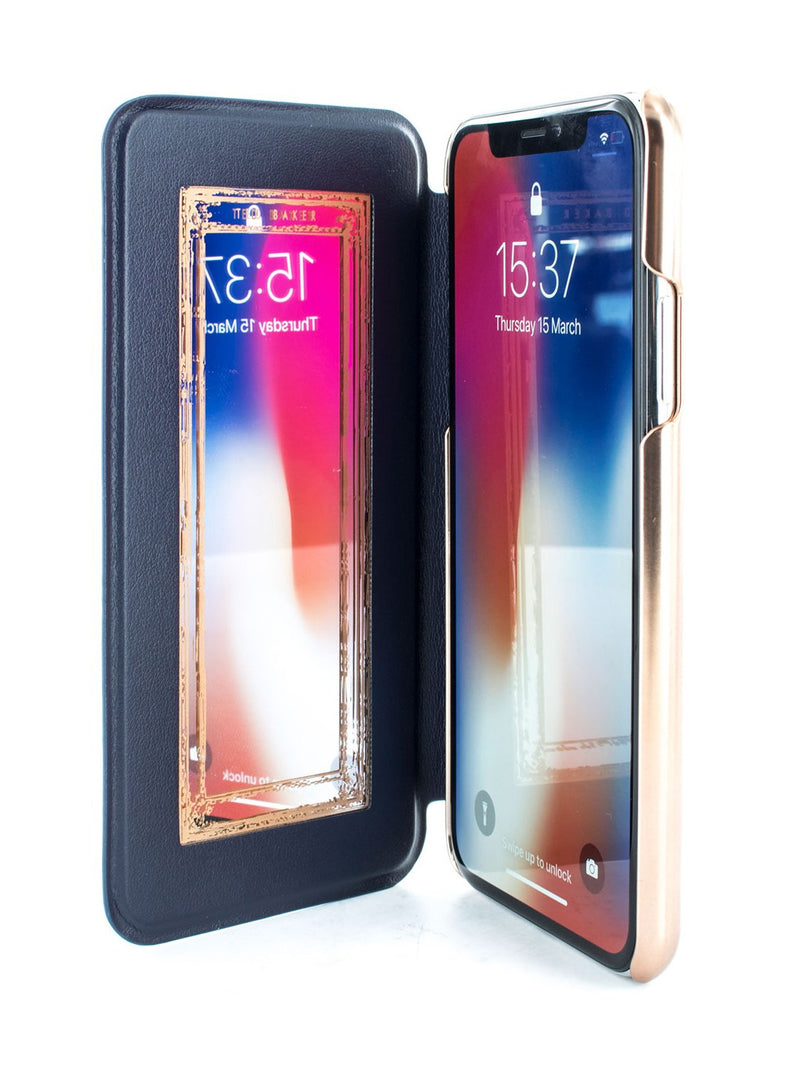Inside image of the Ted Baker Apple iPhone XS / X phone case in Dark Purple