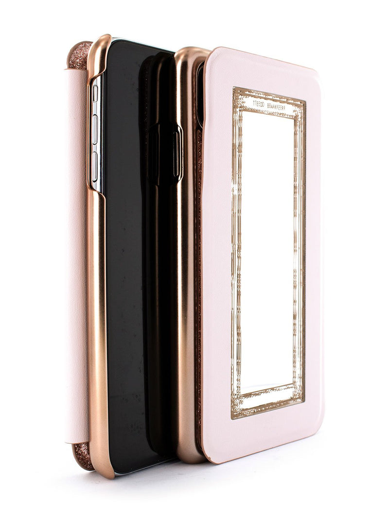 Flip back front and back image of the Ted Baker Apple iPhone XR phone case in Rose Gold