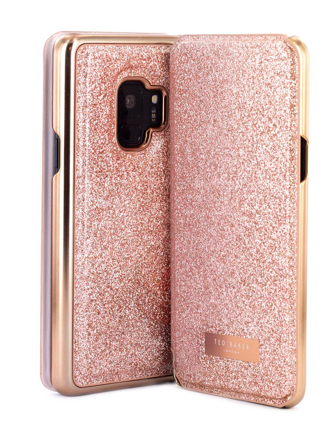 Front and back image of the Ted Baker Samsung Galaxy S9 phone case in Rose Gold