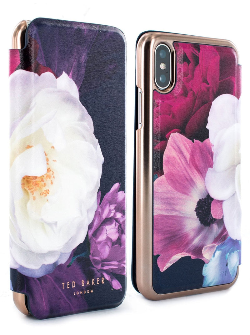 Front and back image of the Ted Baker Apple iPhone XS / X phone case in Dark Purple