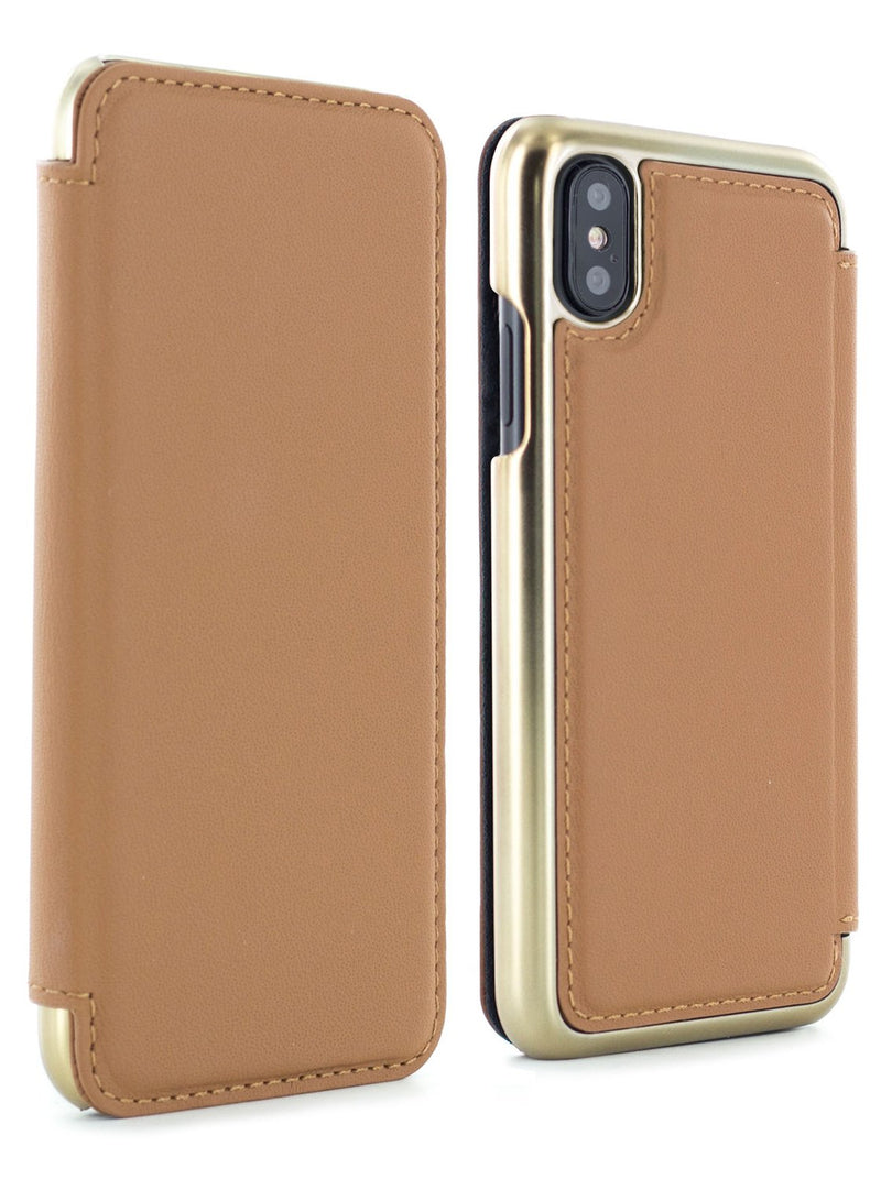 Front and back image of the Greenwich Apple iPhone XS / X phone case in Saddle Brown