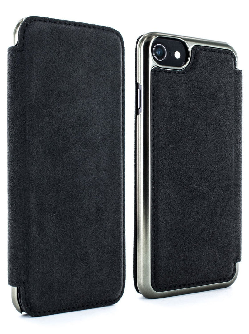 Front and back image of the Greenwich Apple iPhone 8 / 7 / 6S phone case in Alcantara