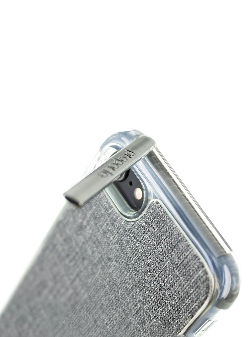 Kickstand detail image of the Proporta Apple iPhone 8 / 7 / 6S phone case in Grey