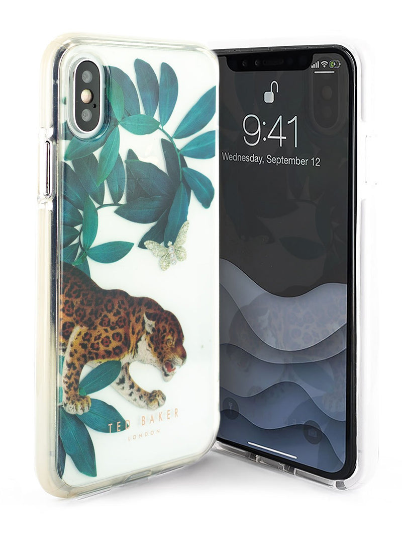 Front and back image of the Ted Baker Apple iPhone XS / X phone case in Clear Print