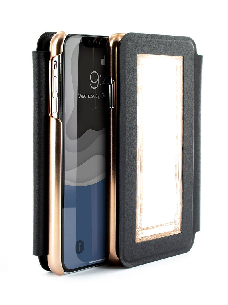 Flip-back front and back image of the Ted Baker Apple iPhone XS Max phone case in Black