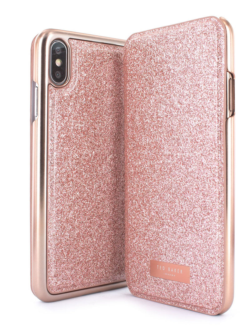 Front and back image of the Ted Baker Apple iPhone XS Max phone case in Rose Gold