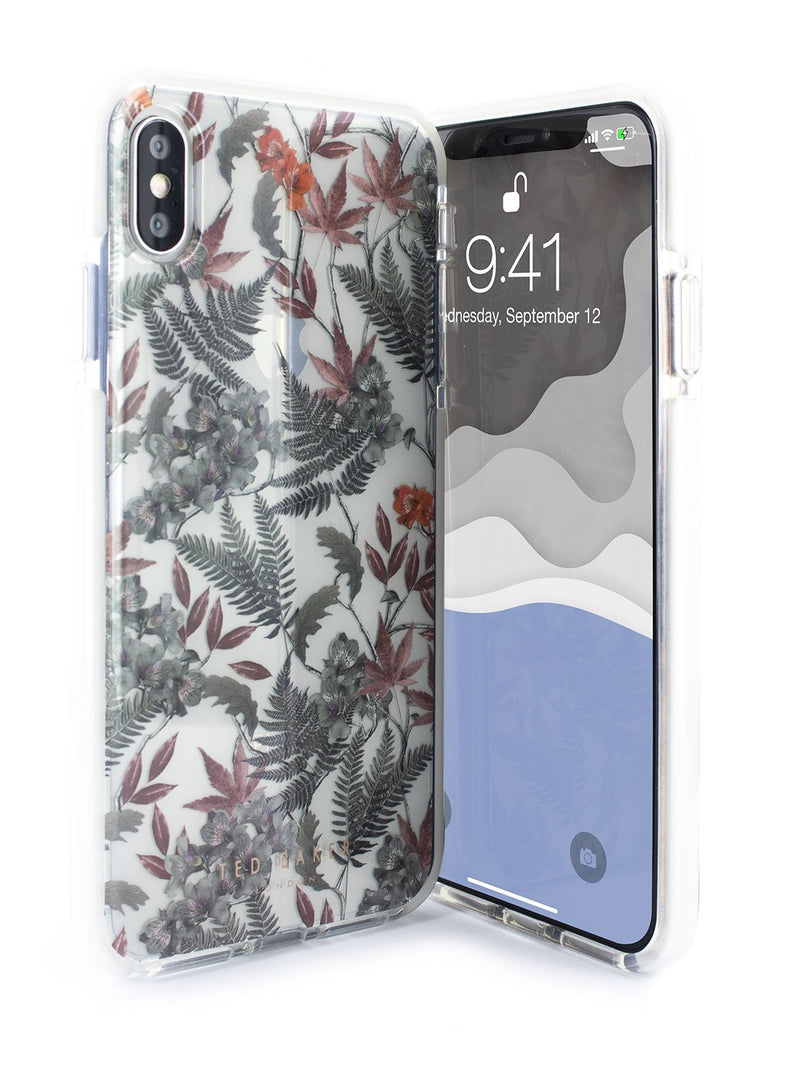 Front and back image of the Ted Baker Apple iPhone XS Max phone case in Clear Print