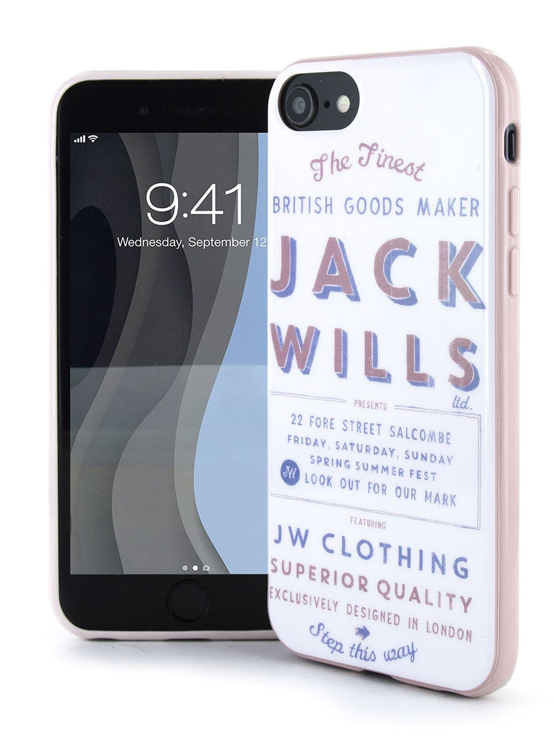 Front and back image of the Jack Wills Apple iPhone 8 / 7 / 6S phone case in Graphic White