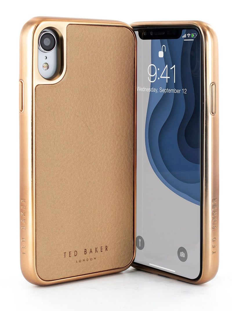 Front and back image of the Ted Baker Apple iPhone XR phone case in Taupe