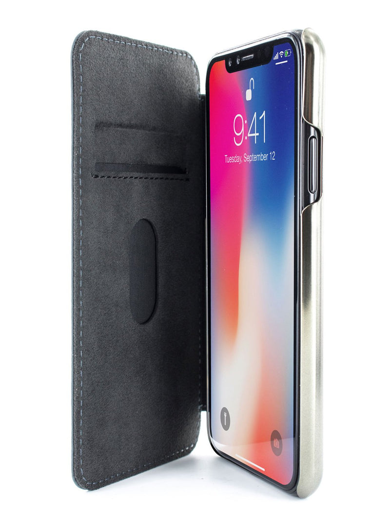 Inside image of the Greenwich Apple iPhone XS / X phone case in Seal Grey