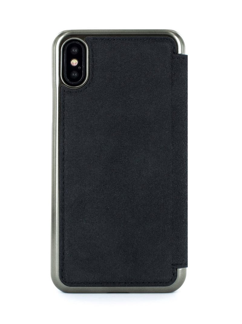 Back image of the Greenwich Apple iPhone XS / X phone case in Alcantara