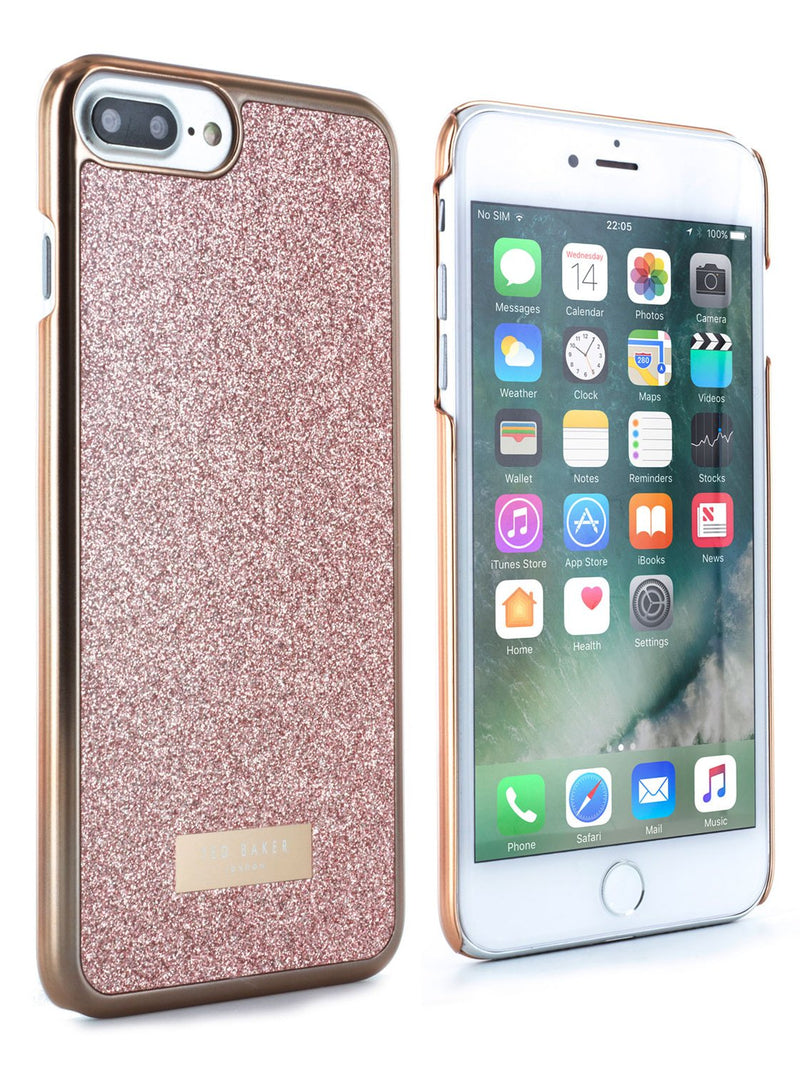Front and back image of the Ted Baker Apple iPhone 8 Plus / 7 Plus phone case in Rose Gold