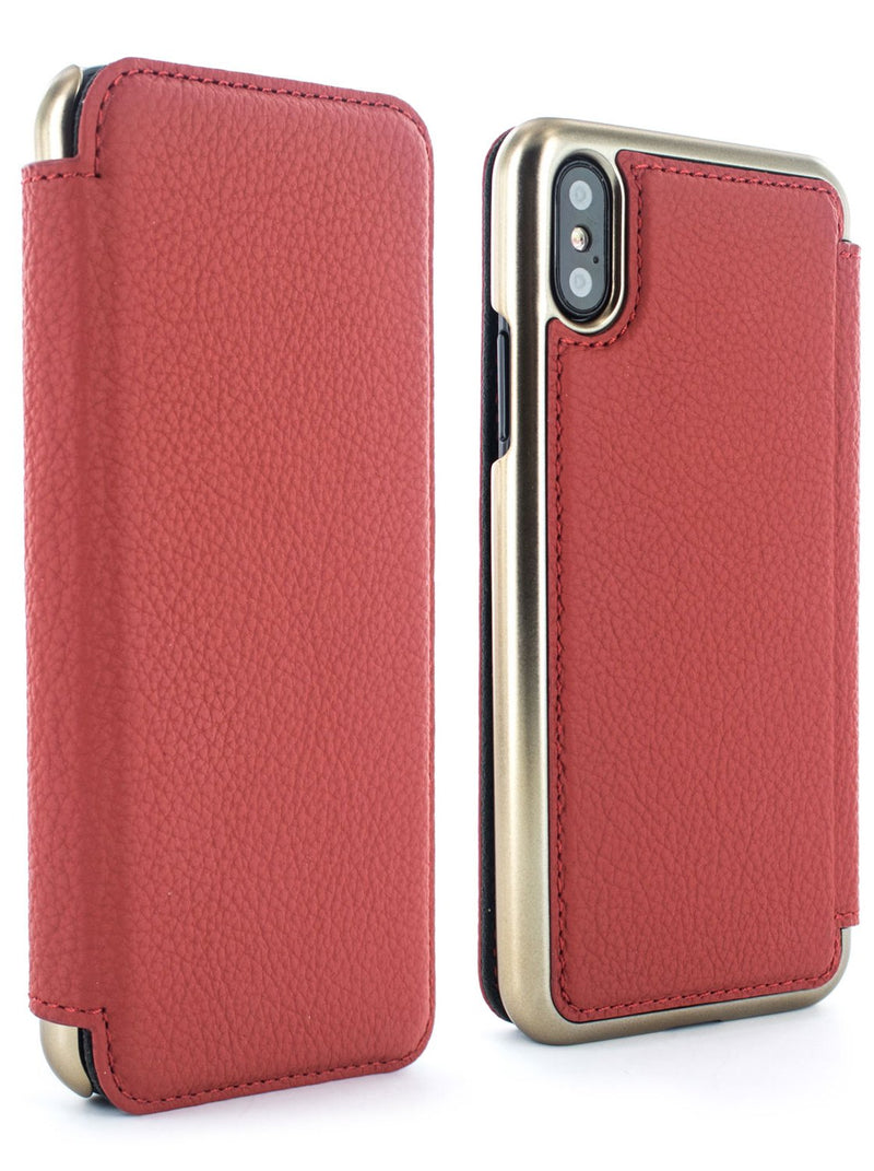 Front and back image of the Greenwich Apple iPhone XS / X phone case in Scarlet Red