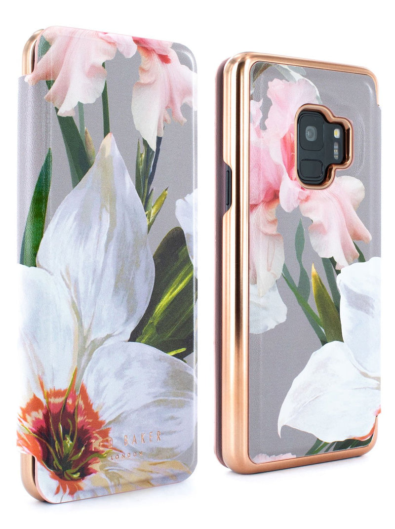 Front and back image of the Ted Baker Samsung Galaxy S9 phone case in Mid Grey