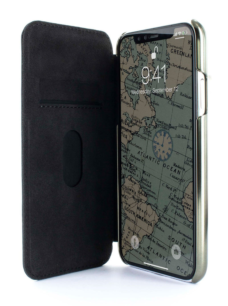 Inside image of the Greenwich Apple iPhone XS Max phone case in Alcantara