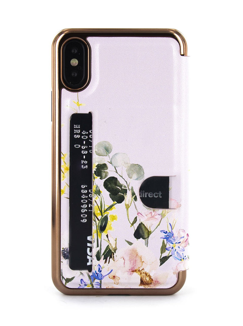 Card slot back image of the Ted Baker Apple iPhone XS / X phone case in Pink