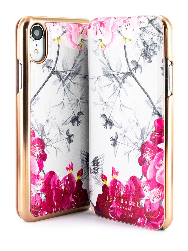 Front and back image of the Ted Baker Apple iPhone XR phone case in Babylon Nickel